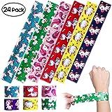 iBaseToy Unicorn Slap Bracelets - Birthday Party Favors Carnival Prizes for Kids Boys Girls Adults, 6 Designs (24 Pack)