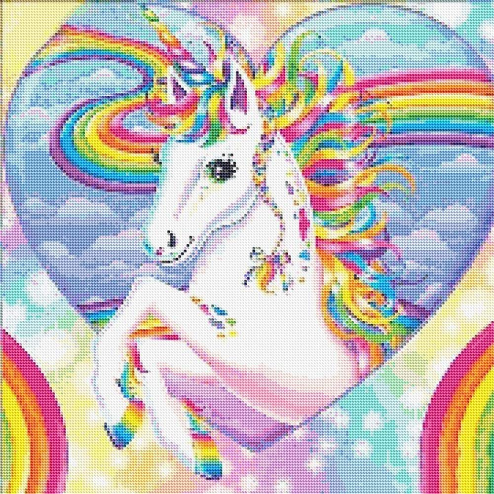 SINACO DIY Diamond Painting,by Number Kits Crafts /& Sewing Cross Stitch,Wall Stickers for Living Room Decoration Rainbow Unicorn 11.8x11.8in 1 Pack by