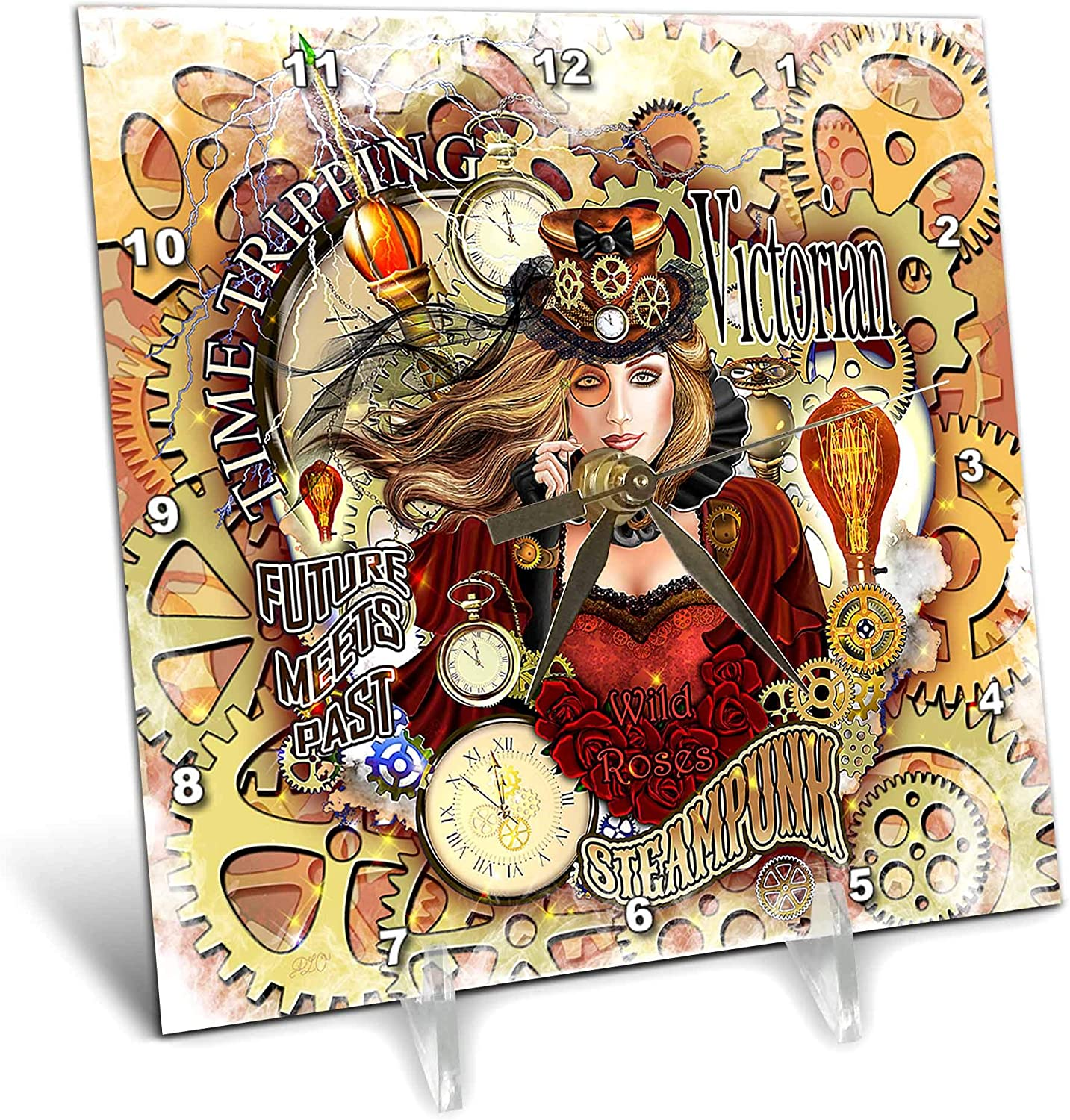 3dRose Steampunk Rose on Gears and cogs Background time Travel. Digital. - Desk Clocks (dc_333110_1)
