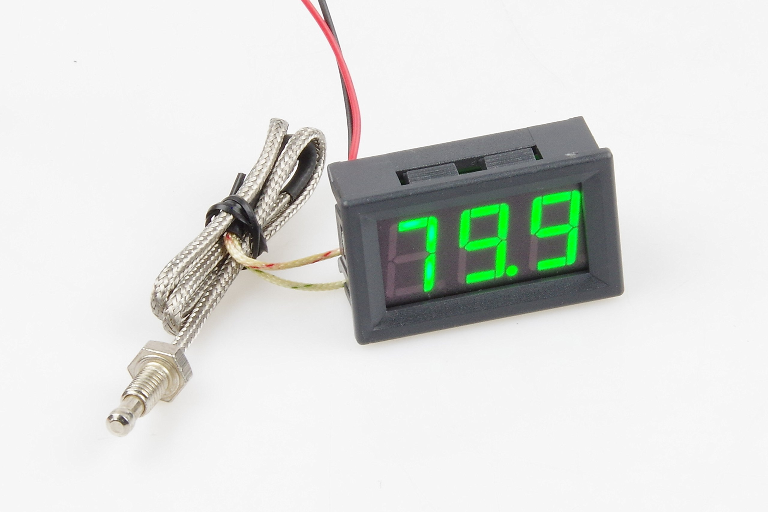 KNACRO -76-999℉ Green LED Digital high temperature precision thermometer industrial thermometer K type thermocouple M6 probe DC 12V 24V CAR (Green)