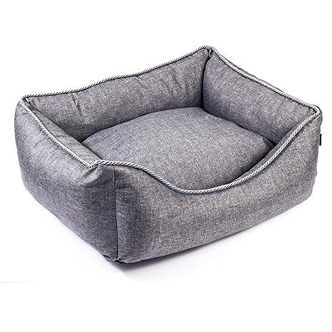 Boutique Zoo – Elegante cama para perros/gris, de lino Look/cama para