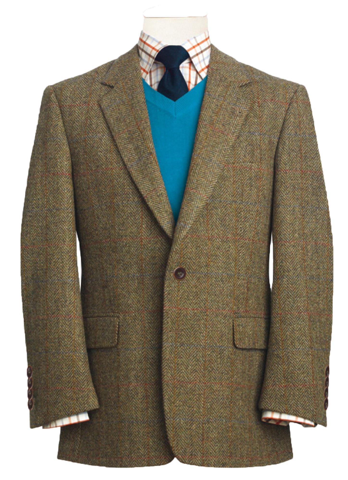 THE FINE SWINE Harris Tweed Coats (Lovat Green Stromay, 42L)