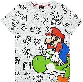 Super Mario Top de Camiseta Gris con Personajes para niños de Nintendo and Yosh: Amazon.es: Ropa y accesorios