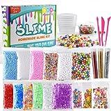 Kuuqa 24 Unidades Kit para Hacer Slime Suministros Incluyendo Micro Perlas de Espuma de Poliestireno Bolas Perlas de Pecera Confeti frutas Rebanadas Slime Herramientas para DIY Craft
