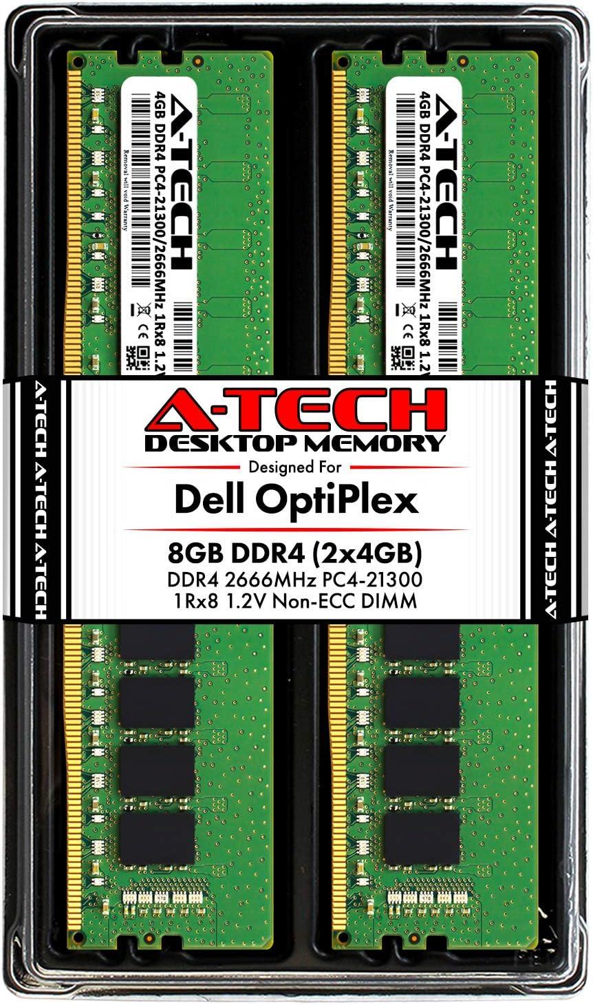 A-Tech 8GB RAM Kit for Dell OptiPlex XE3, 7070, 7060, 5070, 5060, 3070, 3060, Tower/SFF - (2 x 4GB) DDR4 2666MHz PC4-21300 Non-ECC DIMM Desktop Memory Upgrade