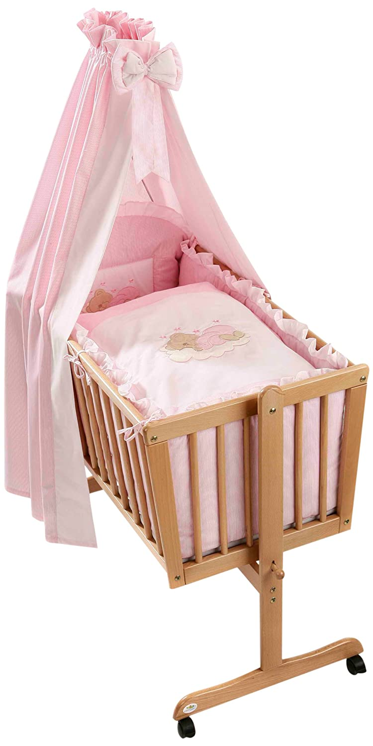 Easy Baby 480-82 Bassinet Set in Sleeping Bear Pink Design BabyCenter