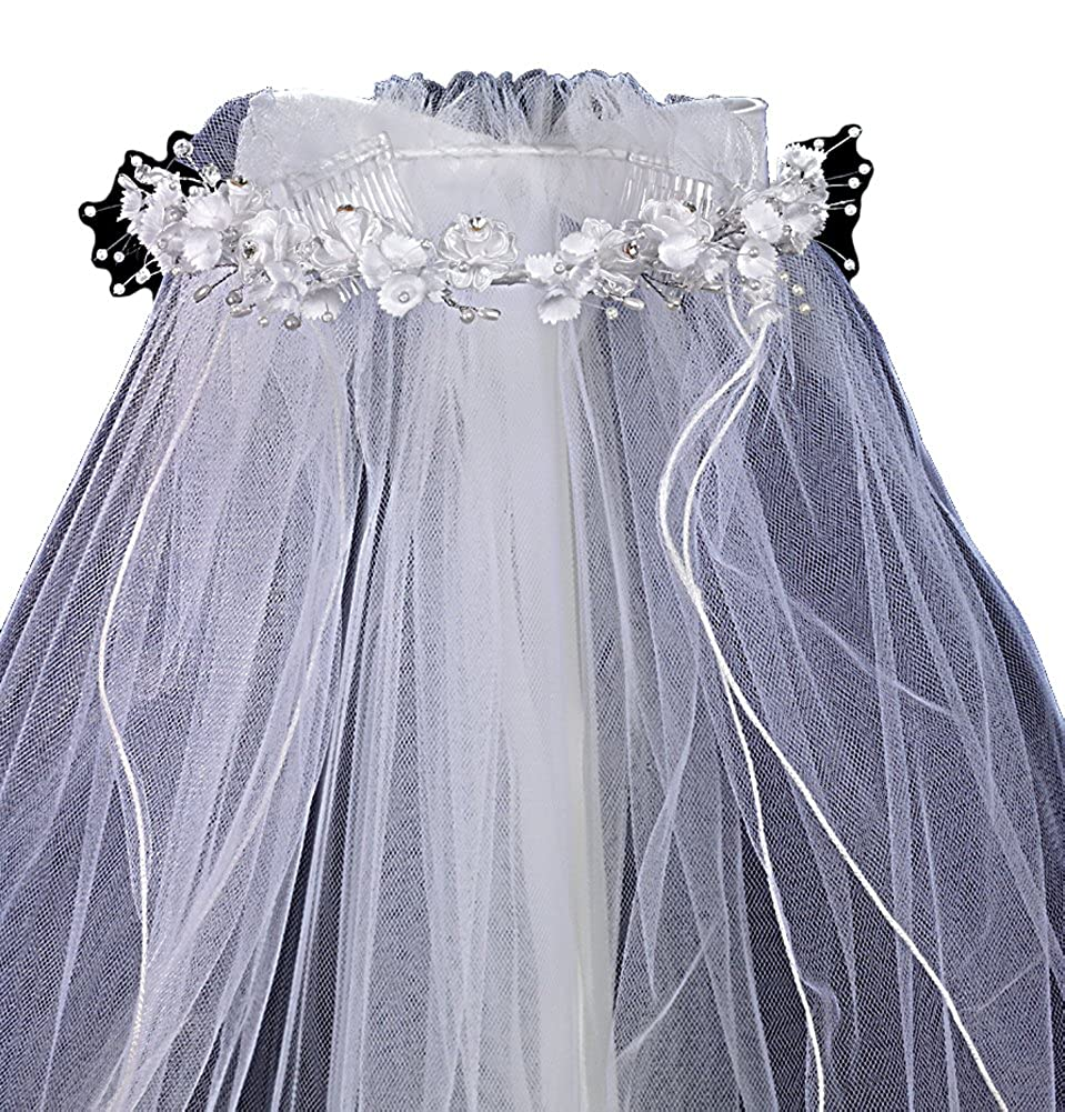 Veil with Organza Flowers and Rhinestone and Pearl Accents
