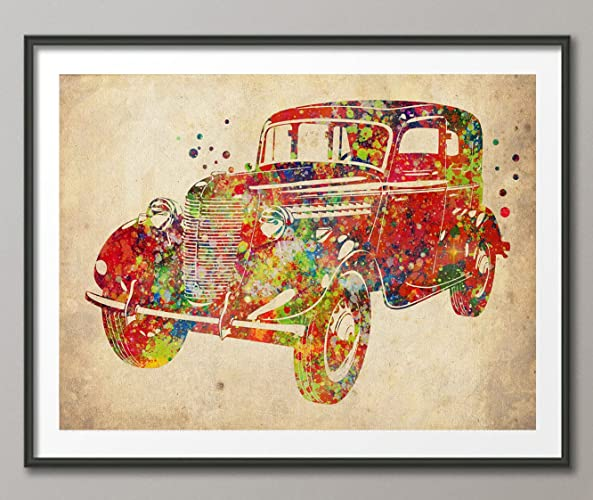 Amazon.com: Vintage Classic Car Watercolor Print Archival Fine Art ...
