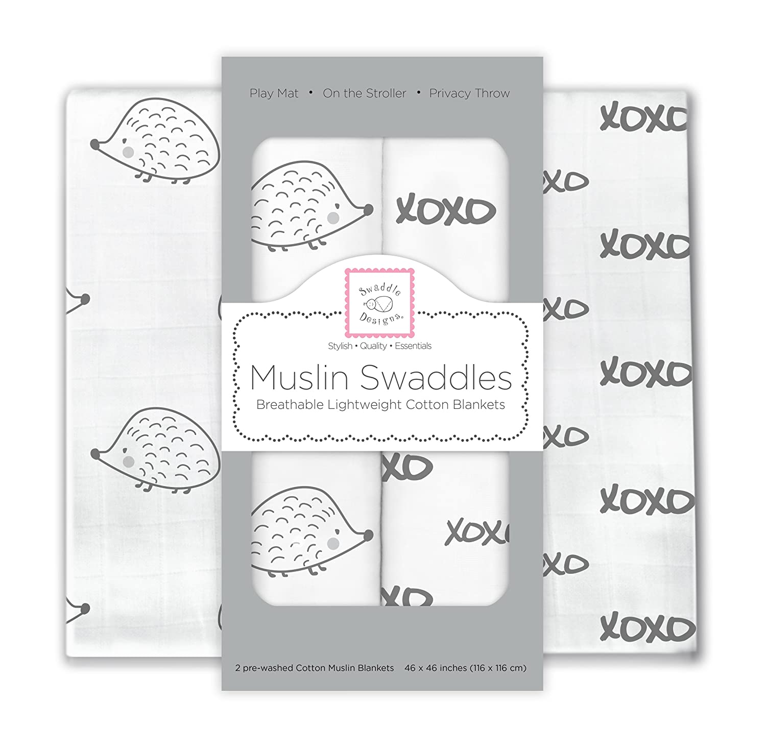 SwaddleDesigns X-Large Cotton Muslin Swaddle Blankets, Hogs and Kisses, Black, Set of 2 SwaddleDesings SDM-163BK