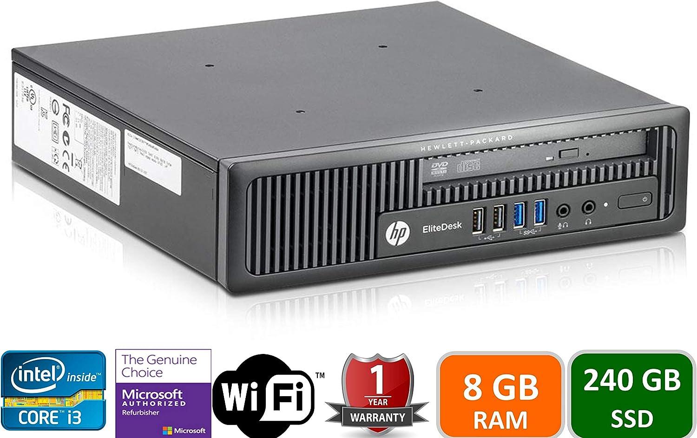 HP 800G1 USFF, Intel i3-4160T-3.1GHz, 8GB Memory, 240GB SSD Drive, WiFi,HDMI, Win 10 Pro(Renewed)