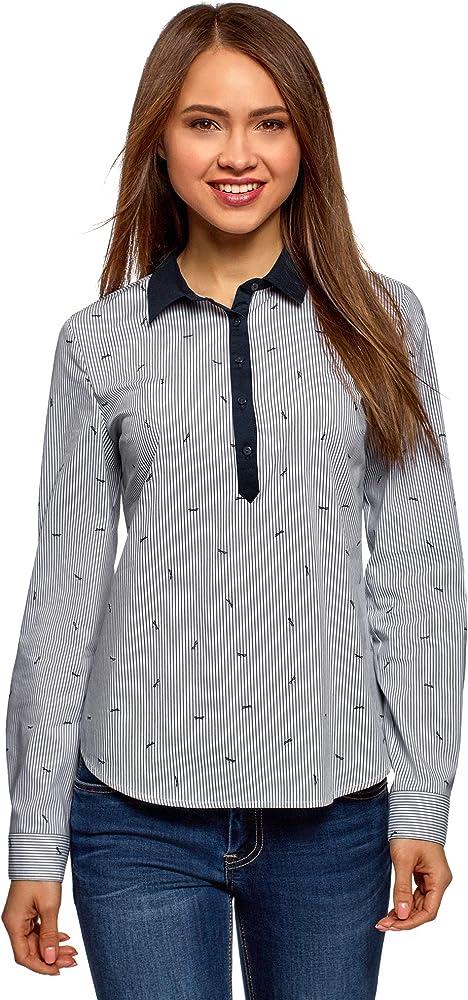 oodji Ultra Mujer Camisa Estampada con Bolsillos, Azul, ES 34 / XXS: Amazon.es: Ropa y accesorios