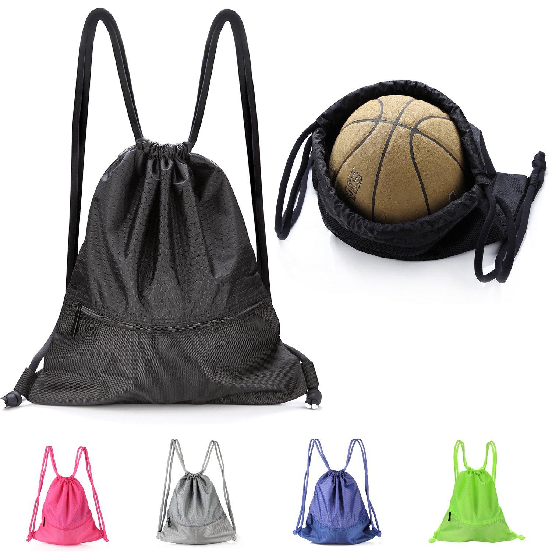 VASKER Large Drawstring Bag String Backpack Water Resistant Gym Sackpack with Pockets 5 Colors for Choice Women Men
