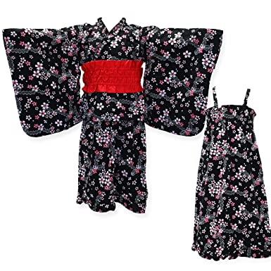 c2cec37f024db 女の子 2WAY 子供浴衣セット 80 浴衣 結び帯 こども ワンピース サマードレス Kids yukata お