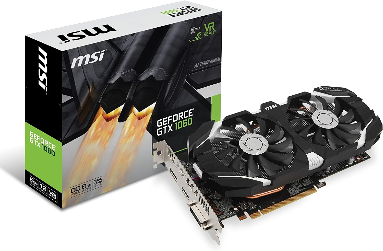 MSI GAMING GeForce GTX 1060 6GB GDRR5 192-bit HDCP Support DirectX 12 Dual Fan VR Ready OC Graphics Card (GTX 1060 6GT OC)