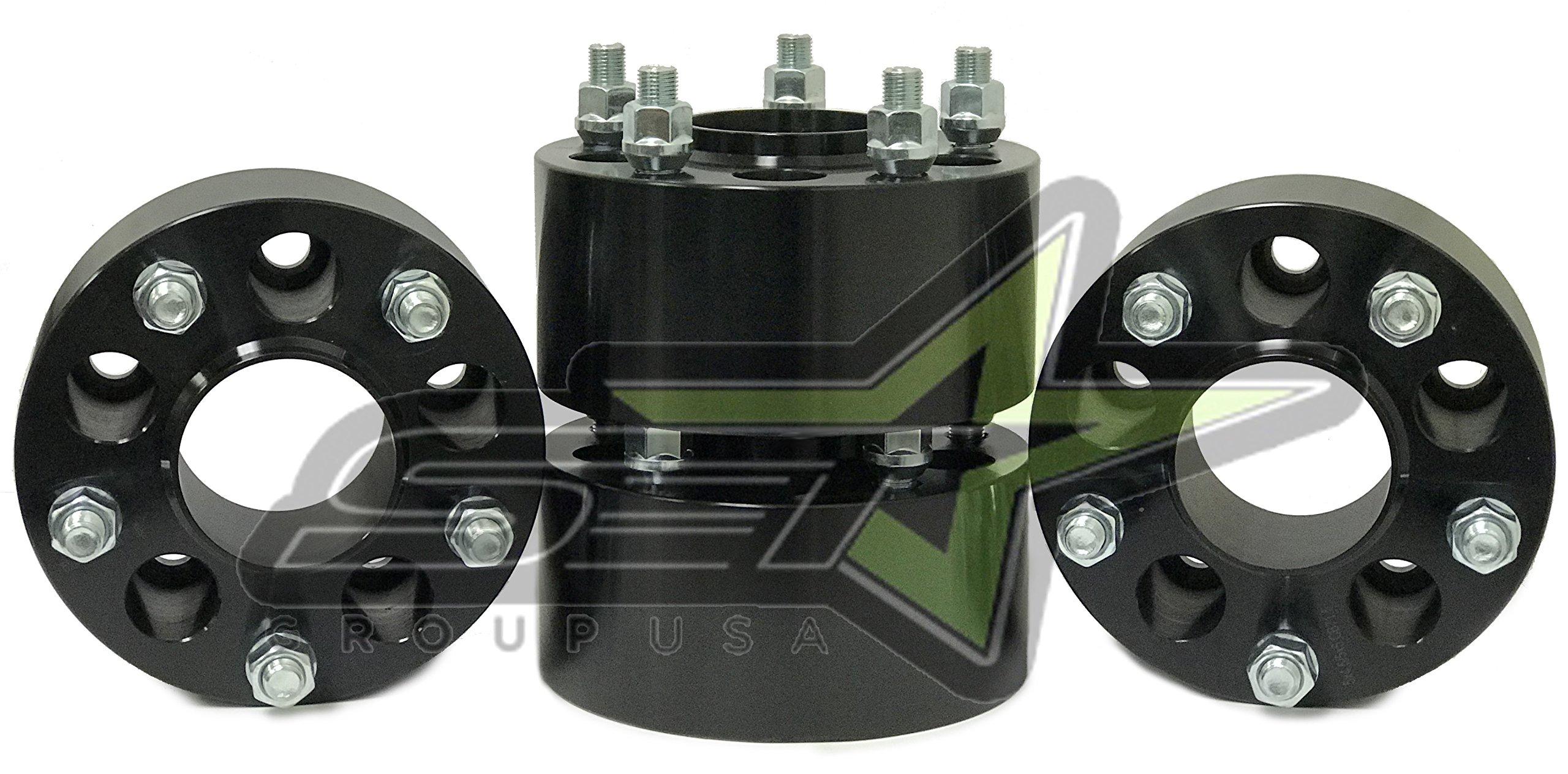 4 Black Jeep Wrangler Wheel Adapters 5x4.5 to 5x5 Hub Centric 3'' Inch Thick | Adapters JK Wheels onto Tj Yj Kk Sj Xj | 1/2-20 Studs | 71.5mm Center Bore
