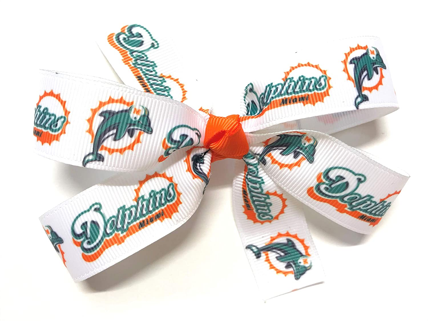 Girls NFL Miami Dolphins Hair Bow Miami Dolphins Football NFL Hair Clip Girls Sports Hair Accessories