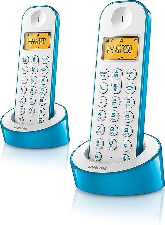 Philips D1202WA/23 - Teléfono fijo, color azul y blanco: Amazon.es: Electrónica