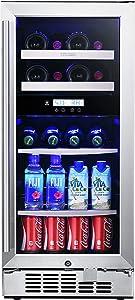 Titan 15 inch 8-bottle and 44-can Built in, Dual Zone, Beverage Cooler and Wine Cooler, Wine Shelf&Adjustable Glass Shelf, Stainless Steel Door, Temp Memory Function, Door-Left-Open &High Temp Alarm