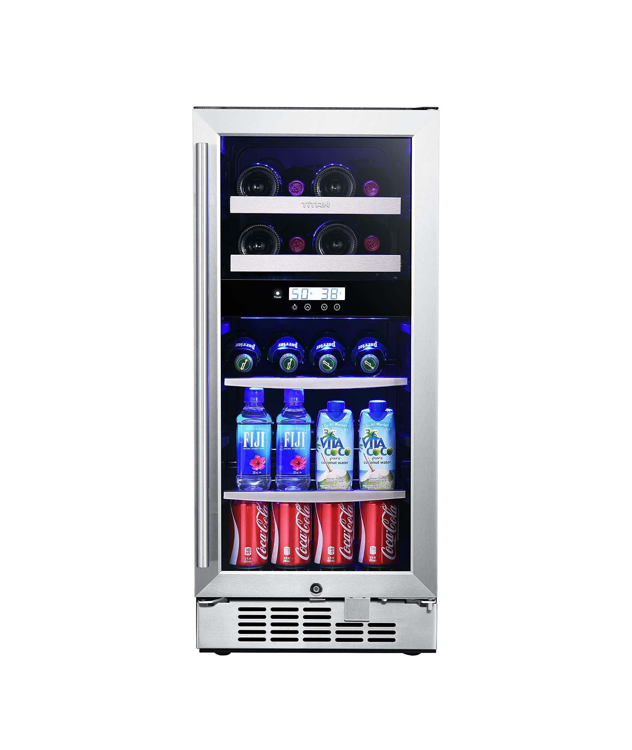 Titan Signature 15 inch 8-bottle and 44-can Built in Dual Zone Wine and Beverage Cooler, Wine Shelf and Adjustable Glass Shelf, Stainless Steel Door, Temp Memory Function, Door Open Alarm