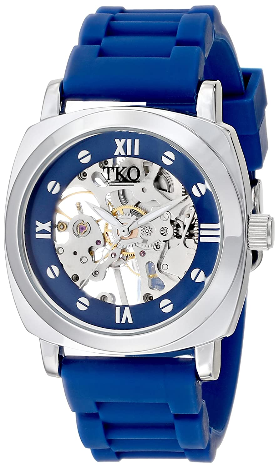TKO Silver See Through Mechanical Skeleton Hand Wind Up Roman Numeral Blue Rubber Band Watch TK627BL