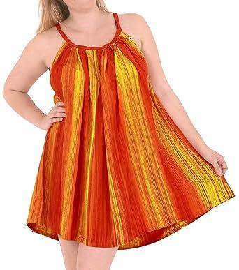 803fe6ff99ff La Leela Rayon butterfly caftan oversized casual printed sleeveless  swimwear tie dye embroidered Tie Dye Orange