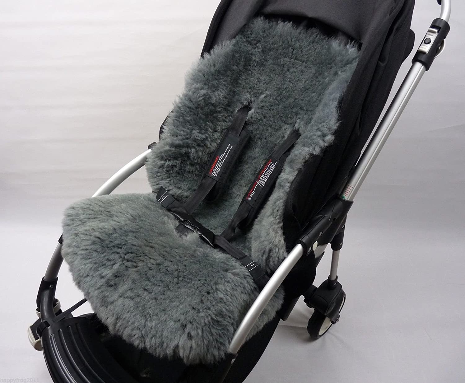 GREY SHEEPSKIN Buggy Pushchair Pram Car Seat Liner Mat Natural Warm& Fluffy HappyFrog