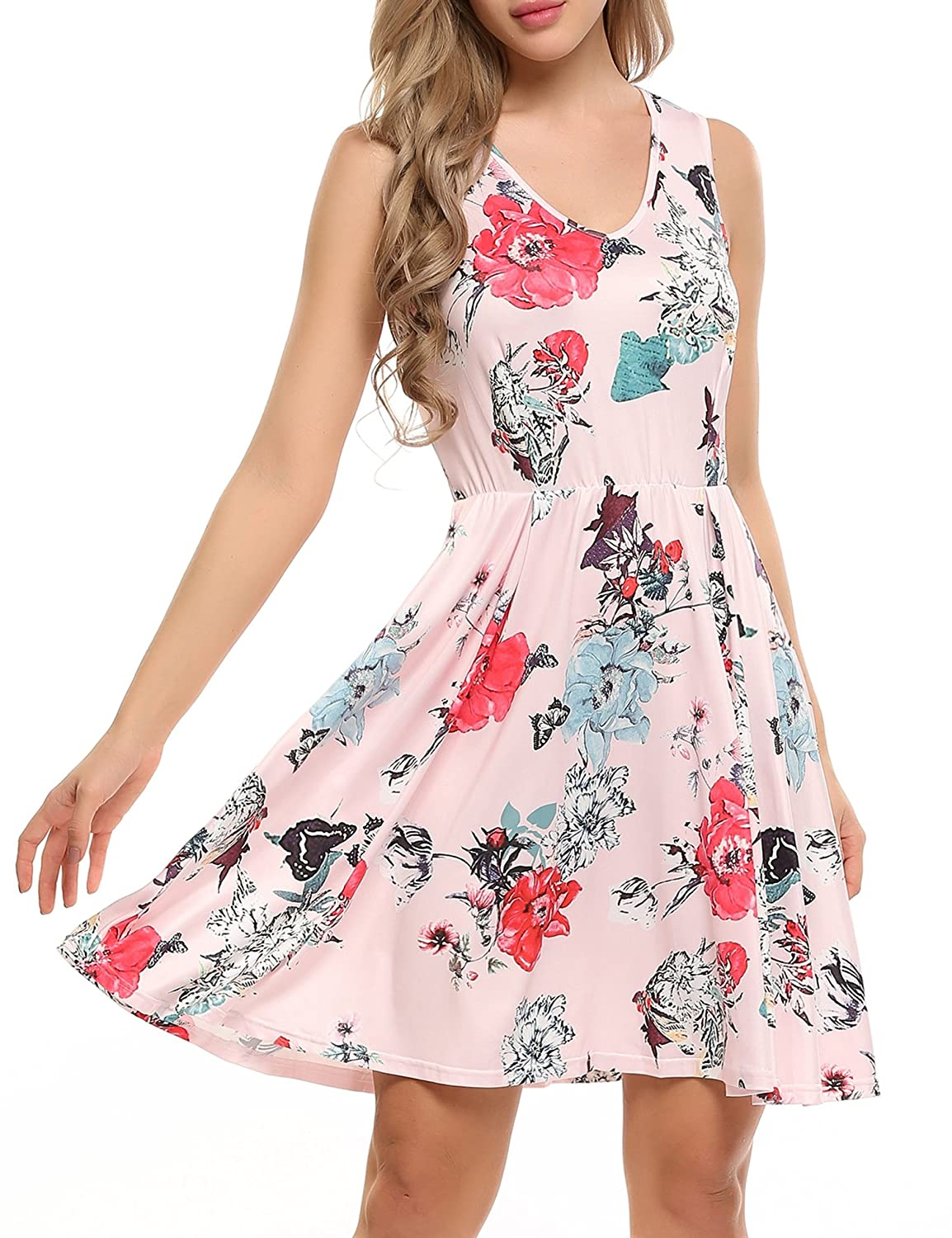 0b1556cab5 ACEVOG Women s Floral Print Swing Fit and Flare Sleeveless Vintage Dresses   Amazon.ca  Clothing   Accessories