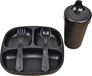product image for Re-Play Made in The USA Toddler Diner Set | Divided Plate, No Spill Sippy Cup, Utensil Set | Eco Friendly Heavyweight Recycled Milk Jugs - Virtually Indestructible | Black