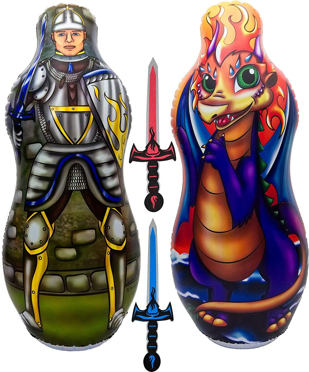 "Inflatable Punching Bag & Foam Sword Set | One 48"" Tall Double Side Bop Bag (Knight on One Side & Dragon on Reverse Side) and Two Soft Swords 