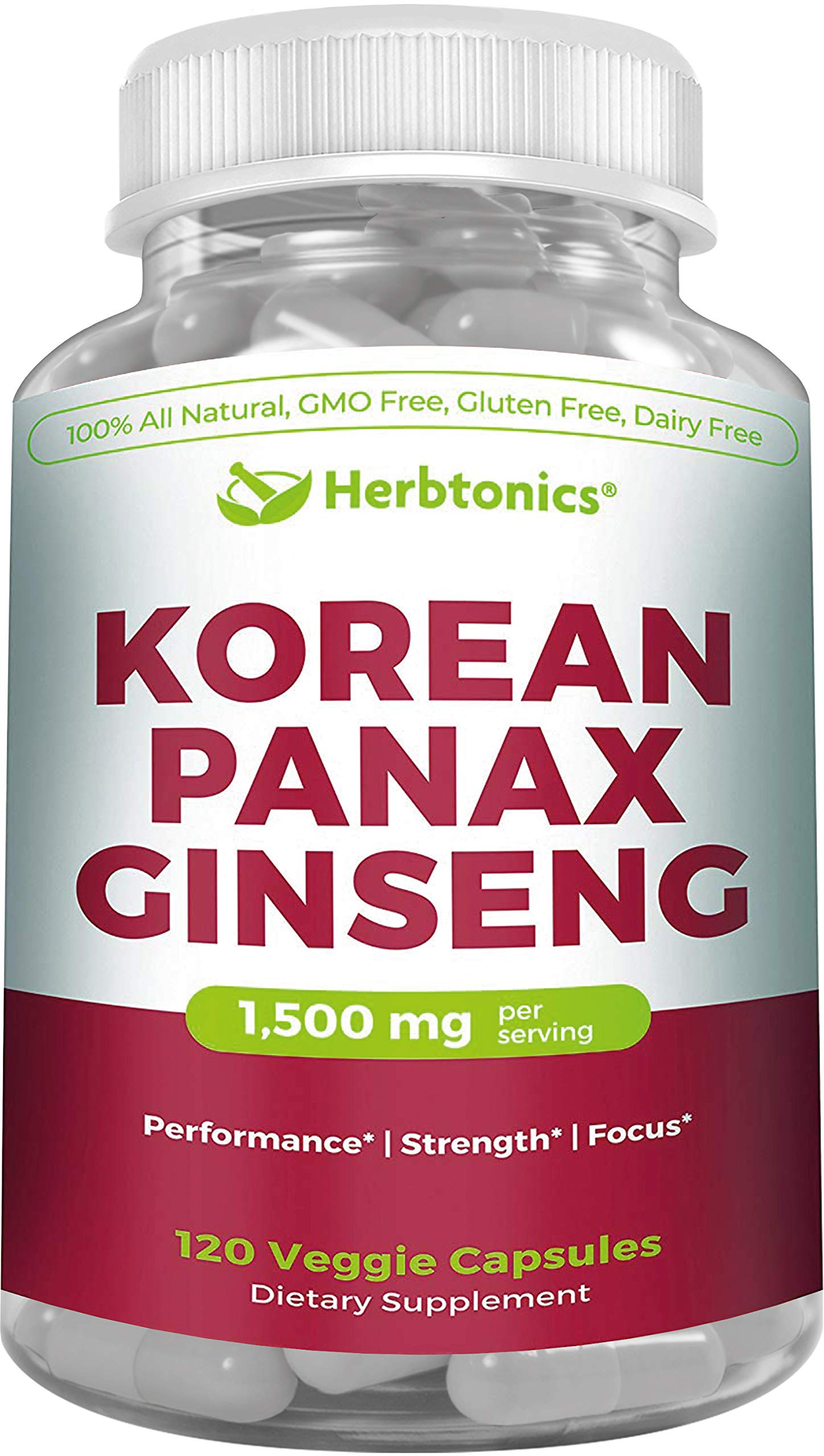 High Strength Korean Red Panax Ginseng Capsules 1500 mg Supplement -120 Vegan Pills High Ginsenosides Powder Extract to Boost Energy, Endurance, Mood, Performance