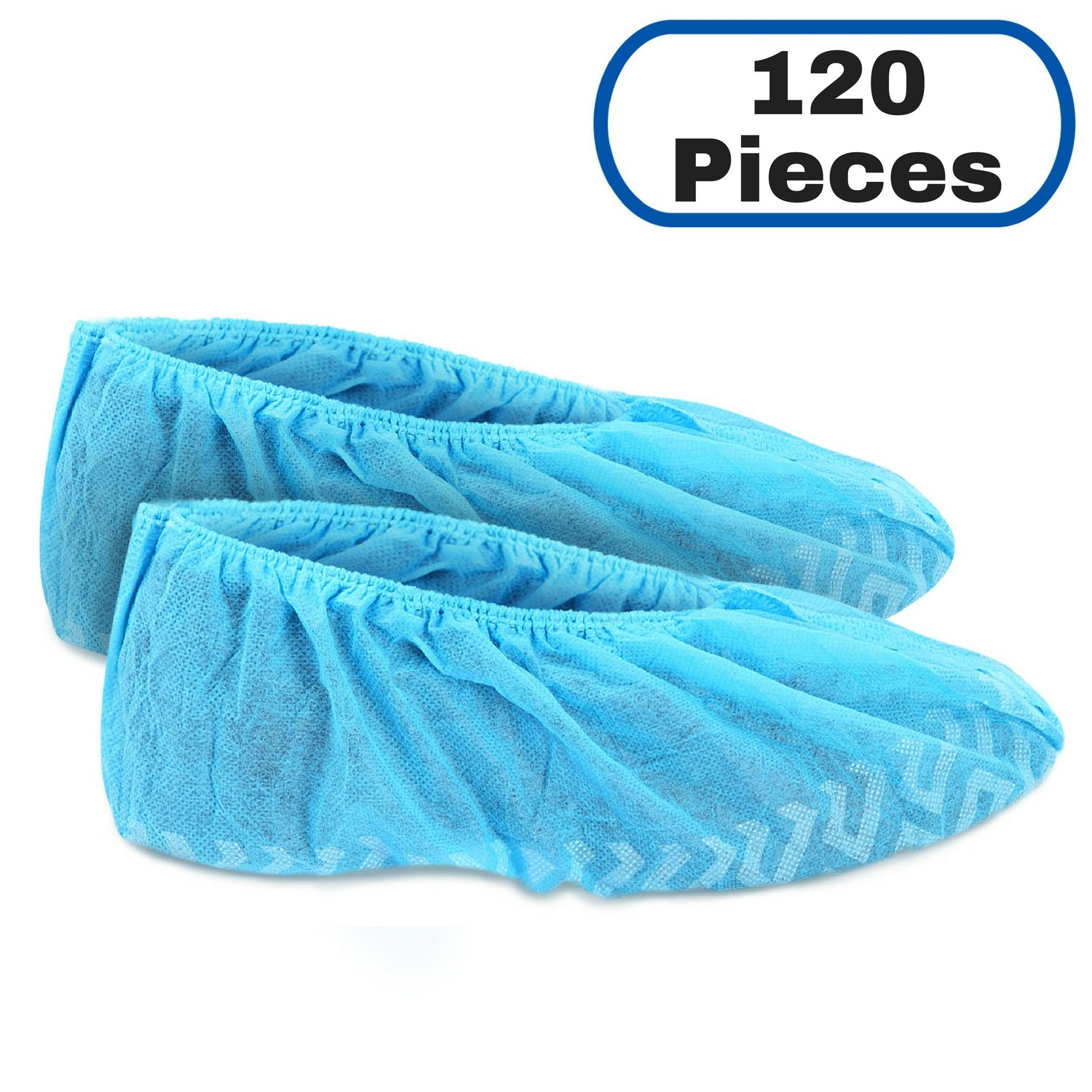 MIFFLIN Disposable Shoe Covers (Blue, 120 Pieces) Durable Boot Covers, Non-Slip Polypropylene, One Size Fits Most