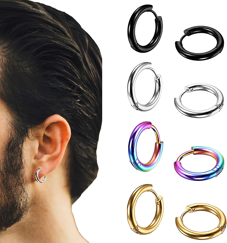 LDier Huggie Hoop Earrings for Men - 4Pairs Stainless Steel Hoop Earrings for Men - 18G Hypoallergenic Piercing Hoop Earrings