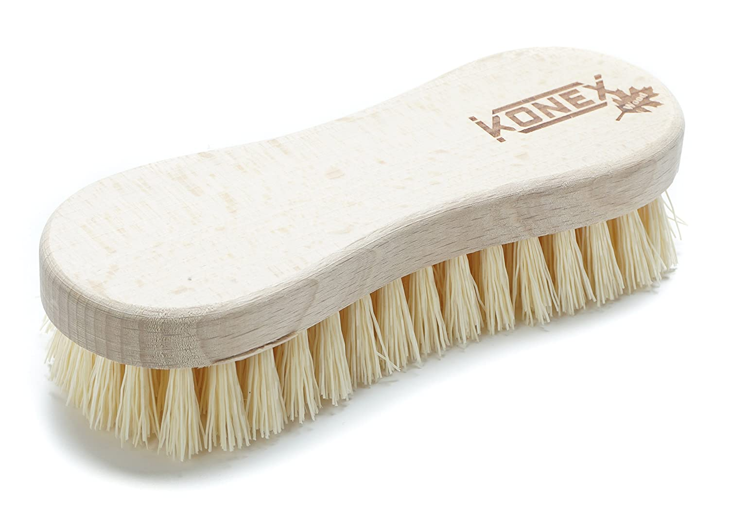 Konex Fiber Economy Utility Cleaning Brush. Heavy Duty Scrub Brush With Wood Handle. (Peanut shaped)