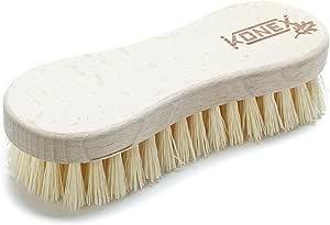 Konex Nylon Fiber Economy Utility Cleaning Brush. Heavy Duty Scrub Brush with Wood Handle. (Peanut Shaped)