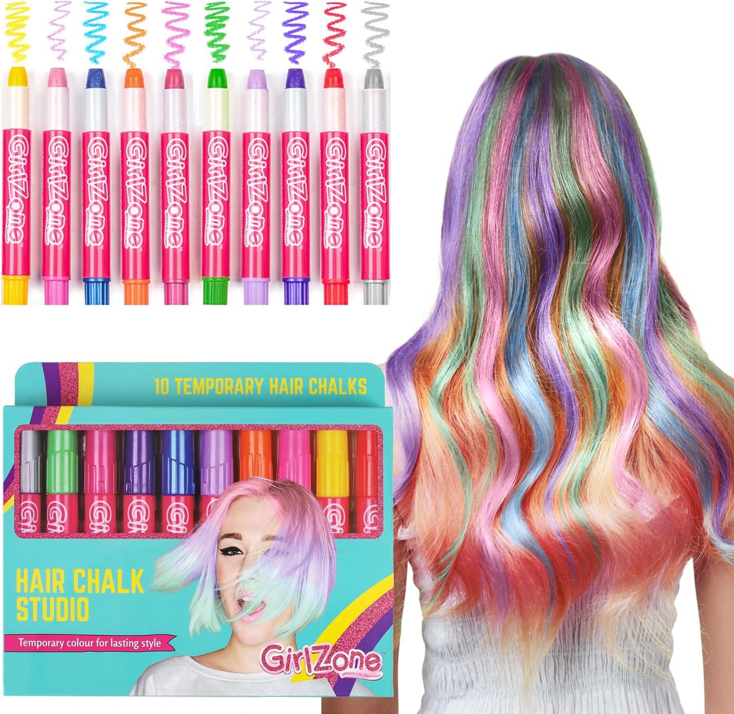 Girlzone Cheveux Craie Cadeaux D/'anniversaire Pour Filles 10 Coloré Stylos-Lavages OUT...