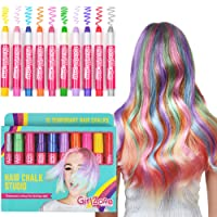 GirlZone HAIR CHALK CHRISTMAS BIRTHDAY GIFTS FOR GIRLS: 10 Colourful Pens - Washes Out Easily With No Mess – 10 Metallic, Glitter & Colour Pens, For All Hair Colours - 80 Applications Per Chalk Pen. Birthday Present Gifts For Girls Age 3 4 5 6 7 8 9 + years old.