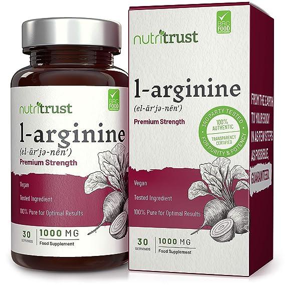 Cápsulas de Aminoácido de L-Arginina de forma libre 1000 mg por Nutritrust®- Admite la función muscular normal - Fórmula vegana para mejorar el rendimiento ...