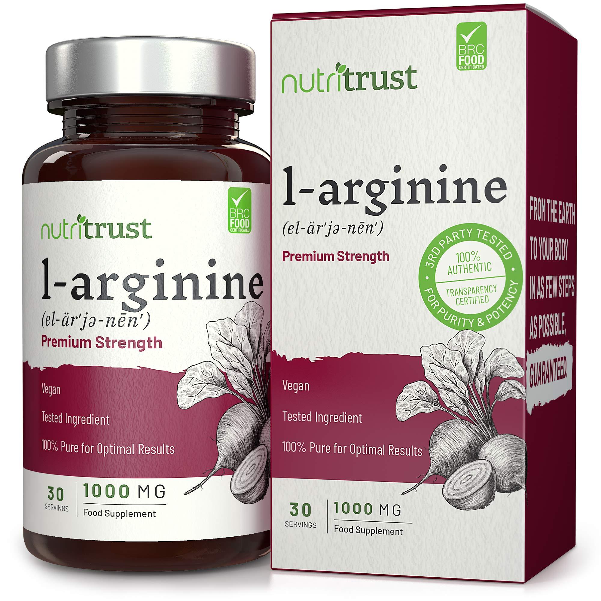 Cápsulas de Aminoácido de L-Arginina de forma libre 1000 mg por Nutritrust®-