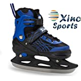 Deluxe Adjustable Ice Skates - for Boys and Girls, Two Awesome Colors - Blue and Pink, Faux Fur Padding and Reinforced Ankle