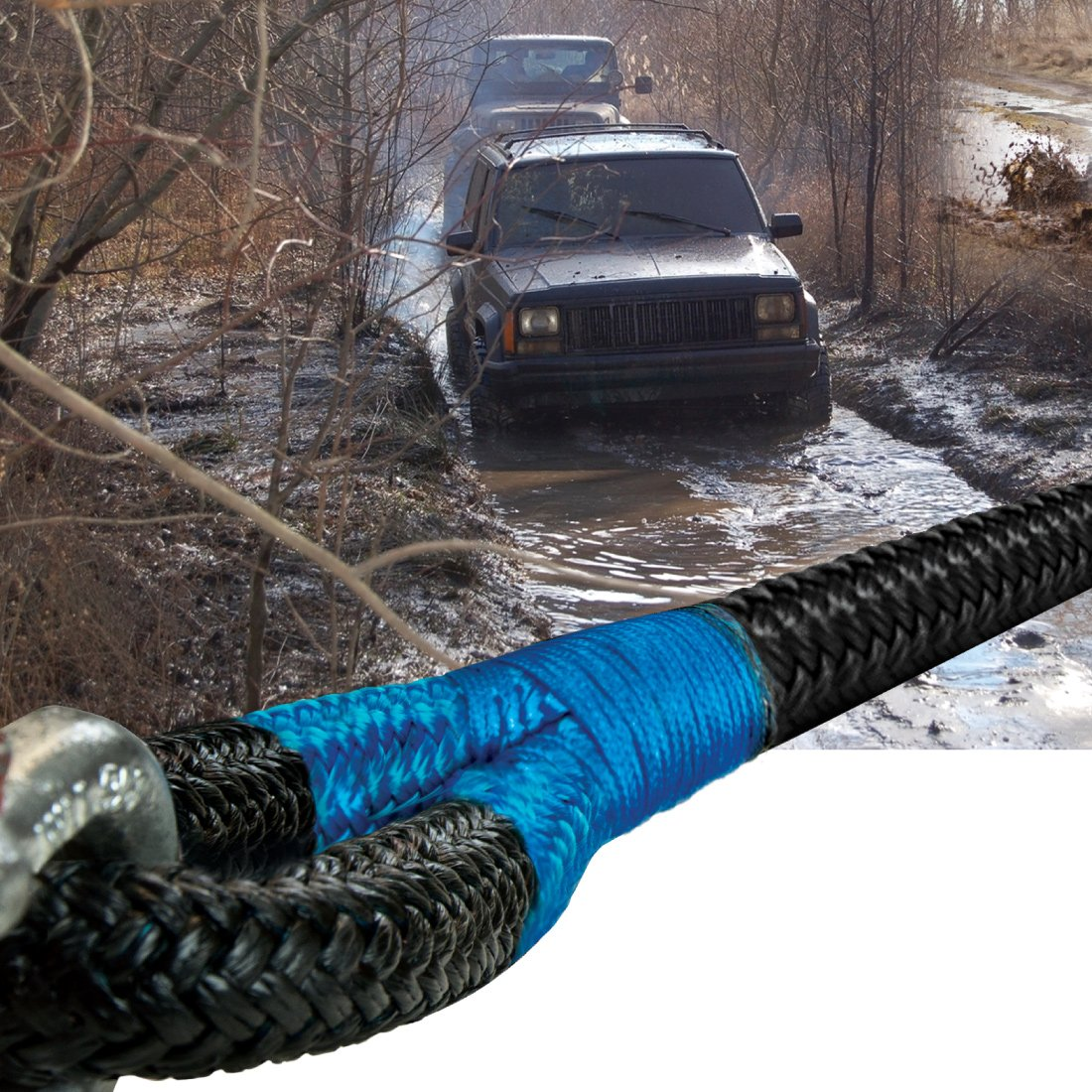 """Breaking Strength 28600 lbs Black Red RTR-2530R Vulcan Brands VULCAN 7//8/"""" x 30 Off-Road Double Braided Recovery Rope"""
