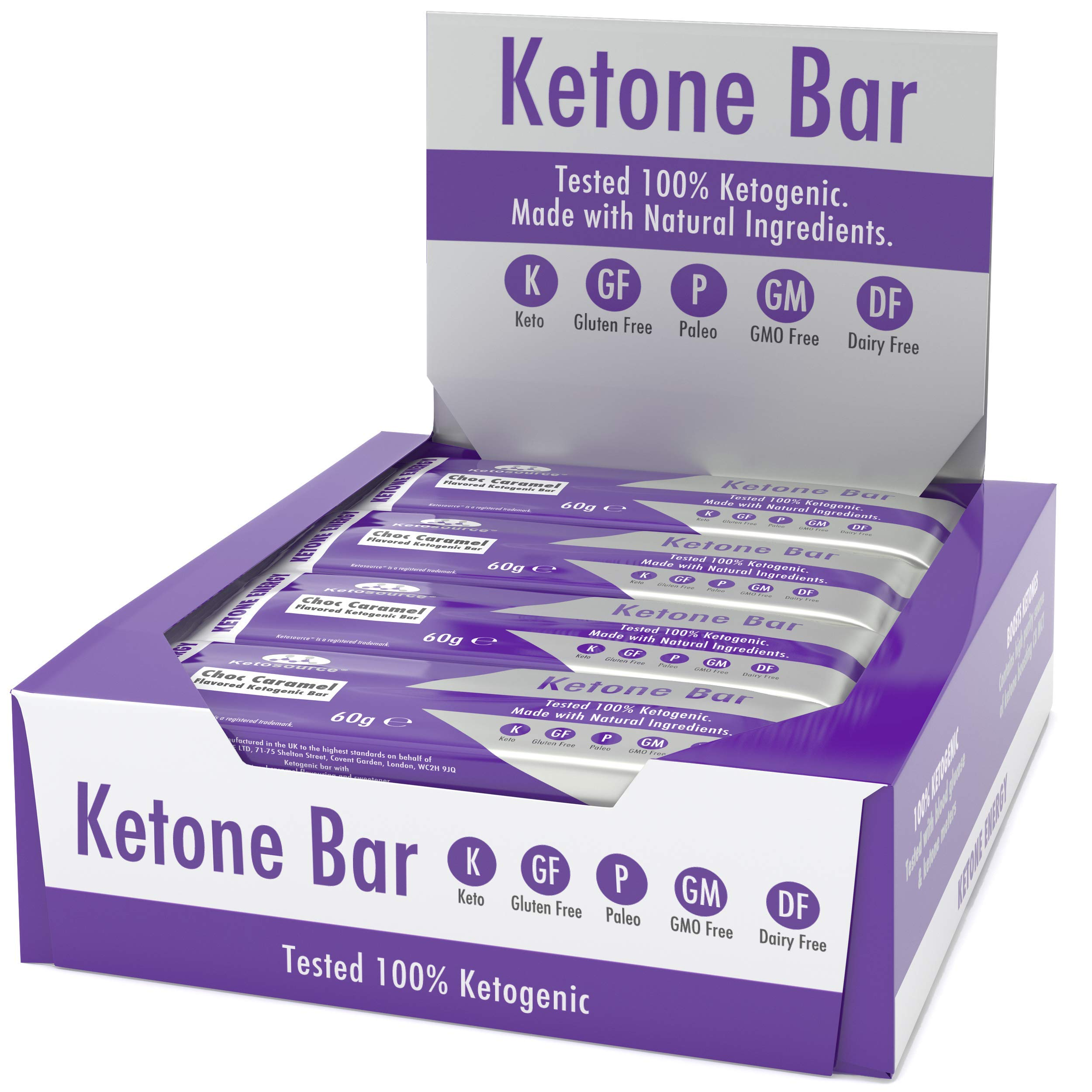 Ketone Bar (12 X 60g) | Keto Bar with All Natural Ingredients | Truly Ketogenic | Paleo & Keto Friendly | 3.1 Net Carbs per Bar | Gluten & Dairy Free | Choc Caramel Flavour | Ketosource® by Ketosource
