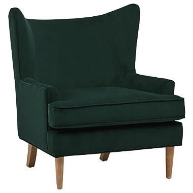 Rivet Chelsea Velvet Wing-Back Accent Chair, Green