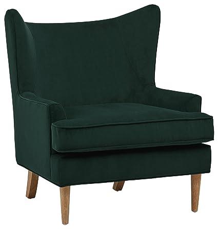Rivet Chelsea Velvet Wing Back Accent Chair, Green