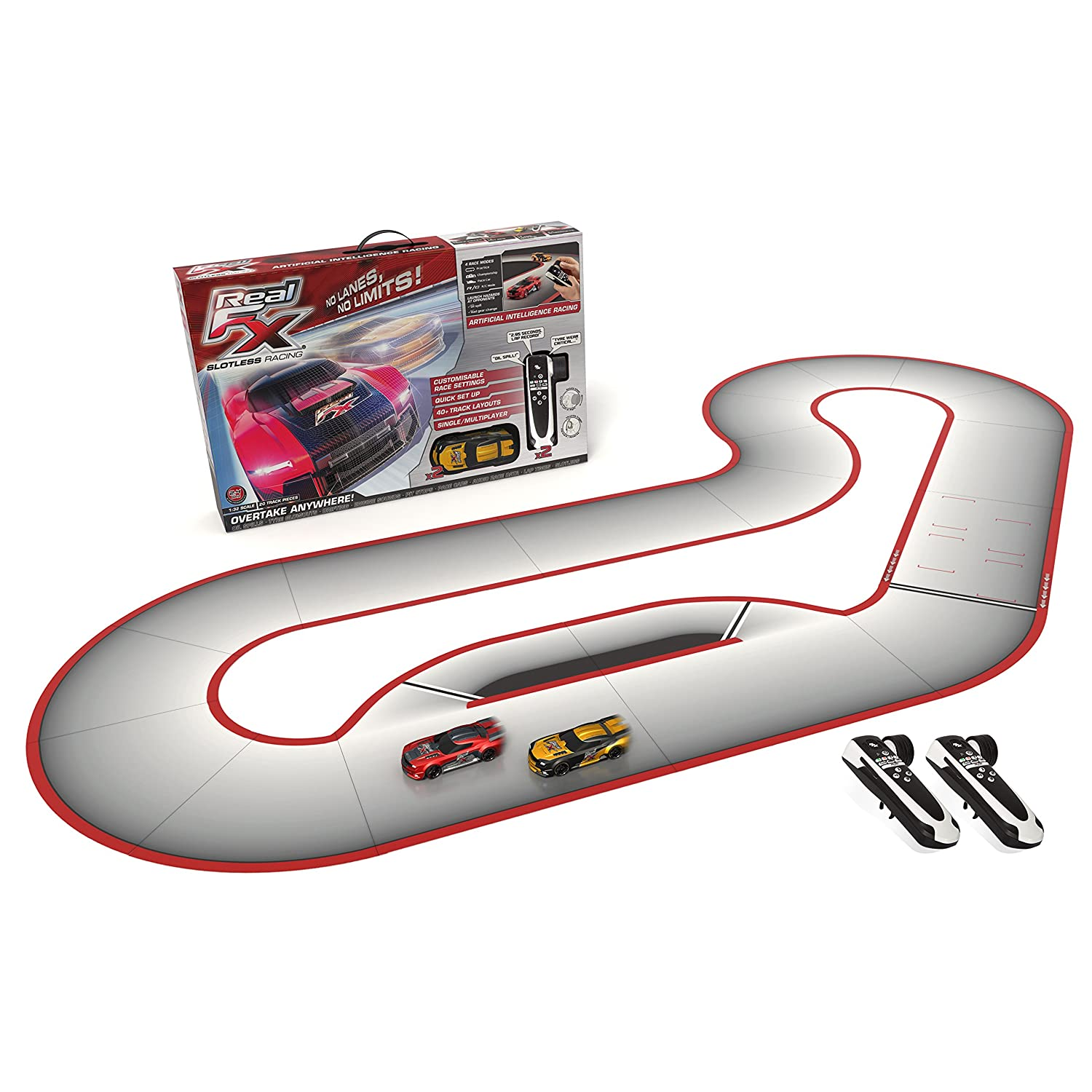 amazoncom real fx racing slotless racetrack system including two rc cars and handsets with artificial intelligence toys games