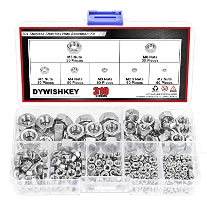 Hex Bolt and Hex Nut 304 Stainless Steel Assortment Kit,60 Pieces