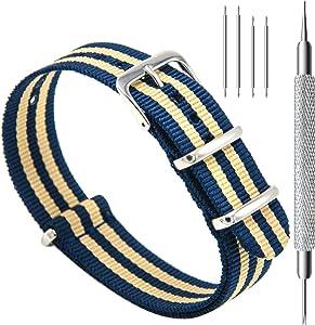CIVO Watch Bands Premium Ballistic Nylon Watch Strap Stainless Steel Buckle (Navy/Khaki, 22mm)