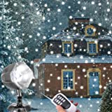 Snowfall LED Lights, AOLOX Christmas Snowflake Rotating Projectors Lights Remote Control Waterproof Outdoor Landscape…