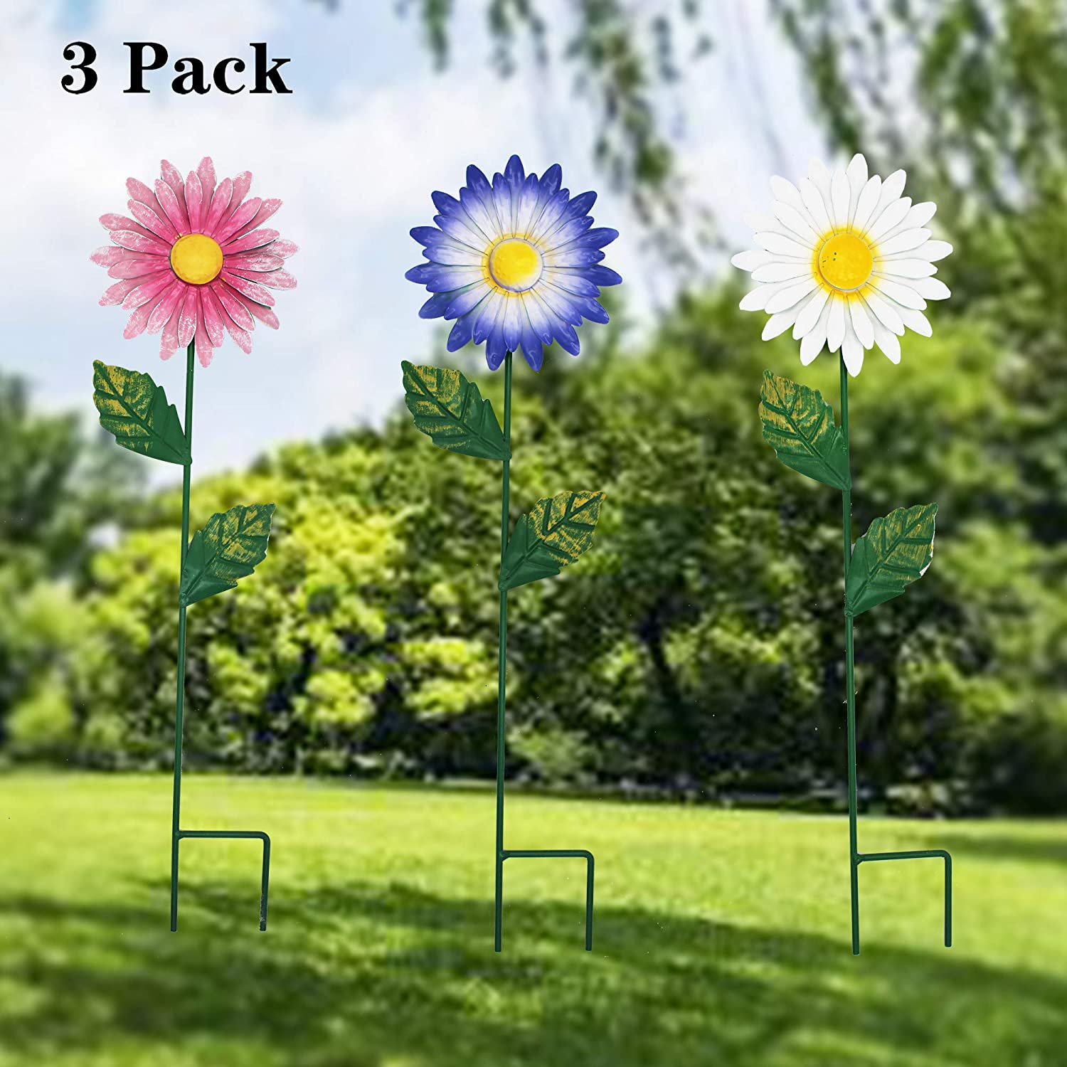 WOLUNWO 17 Inch Daisies Flower Garden Stakes Decor, Metal Daisies Decorative Garden for Indoor/Outdoor Yard, Patio Plant Pot, Flower Bed,Walkway,Pathway,Yard,Lawn, Set of 3