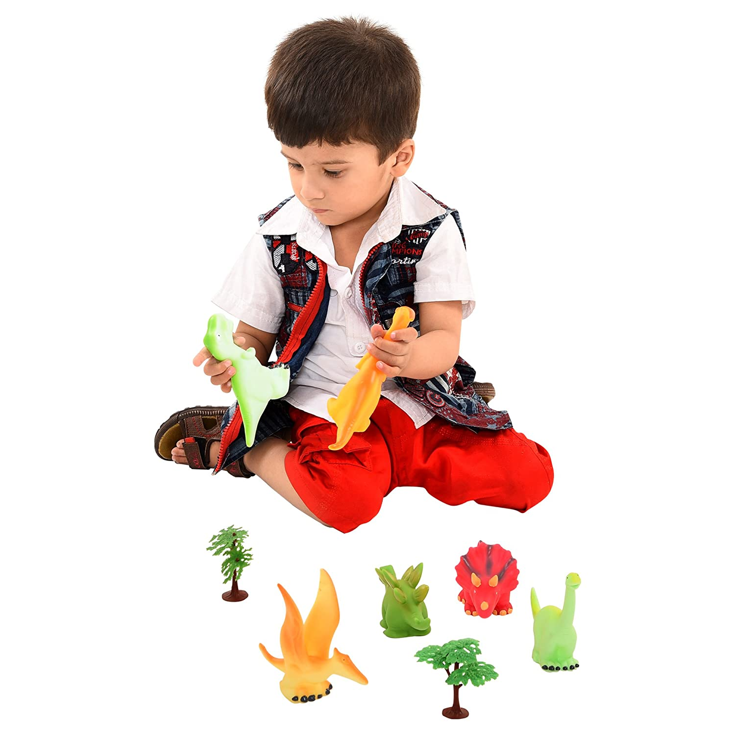 6 Pack Squeeze and Chew Soft Vinly Rubber Squeaky Dinosaur Figures for Toddlers Liberty Imports
