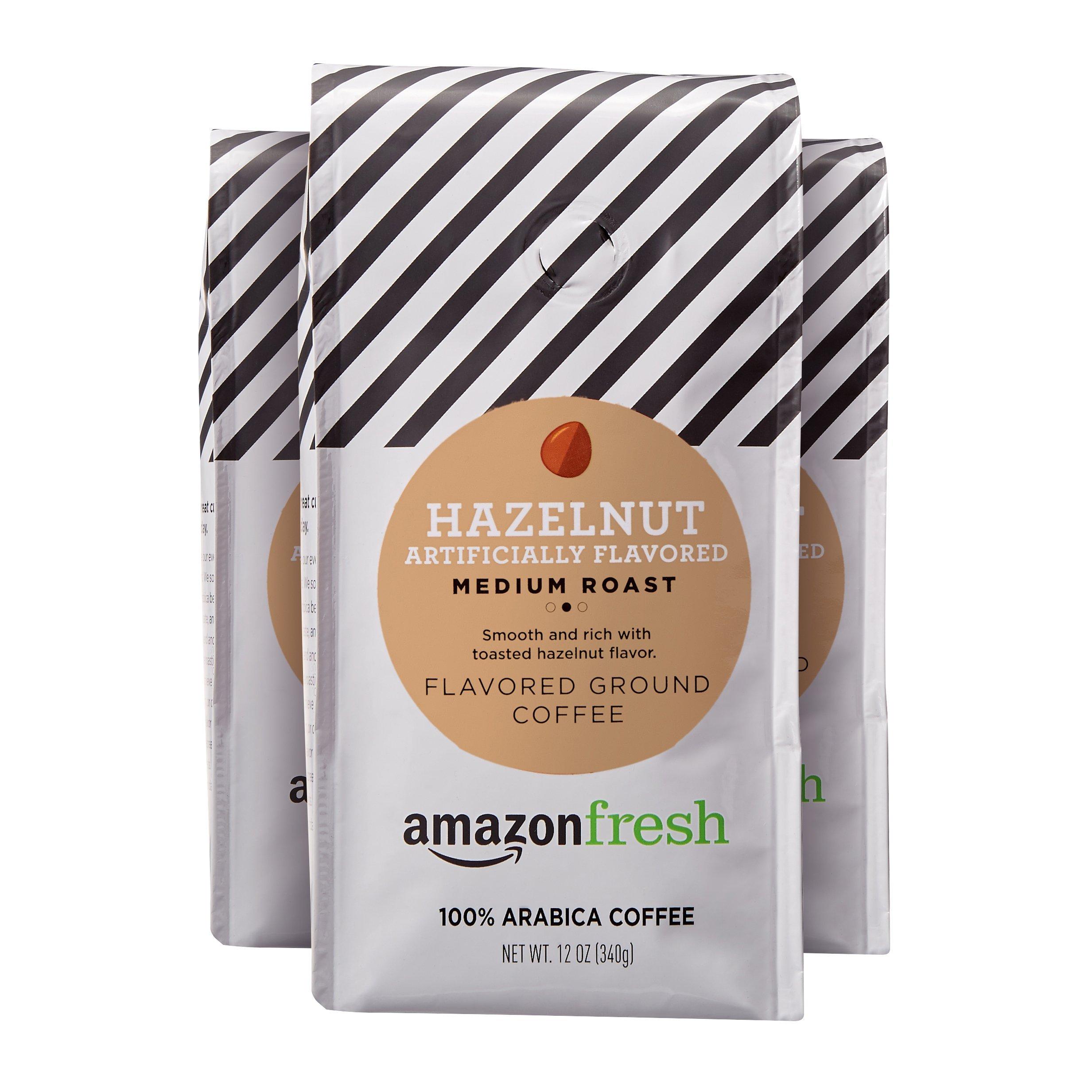 AmazonFresh Hazelnut Flavored Coffee, Ground, Medium Roast, 12 Ounce (Pack of 3) by AmazonFresh